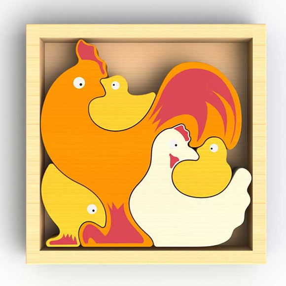 Begin Again Chicken Family Puzzle & Playset