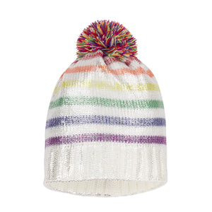 Deux Par Deux Off White Rainbow Knitted Hat with Pom Pom