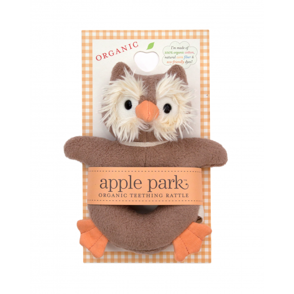 Apple Park Organic Teething Rattle – Owl