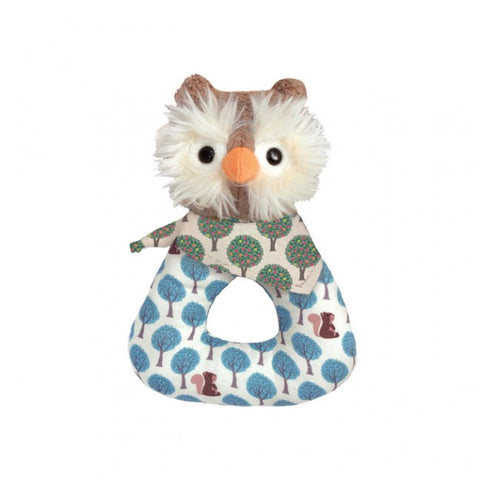 Apple Park Organic Patterned Rattle – Blue Owl