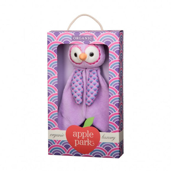 Apple Park Organic Cotton Patterned Blankie – Purple Owl
