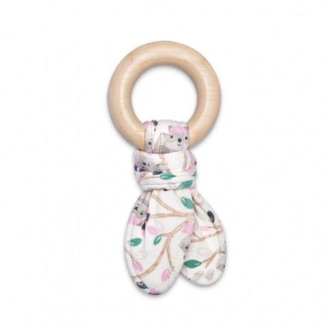 Apple Park Organic Fabric Teething Toy - Raccoon Girl