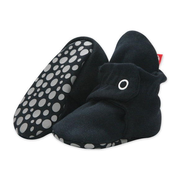 Zutano Cotton Gripper Baby Bootie Black