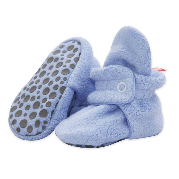 Zutano Cozie Baby Booties Light Blue with Grippers