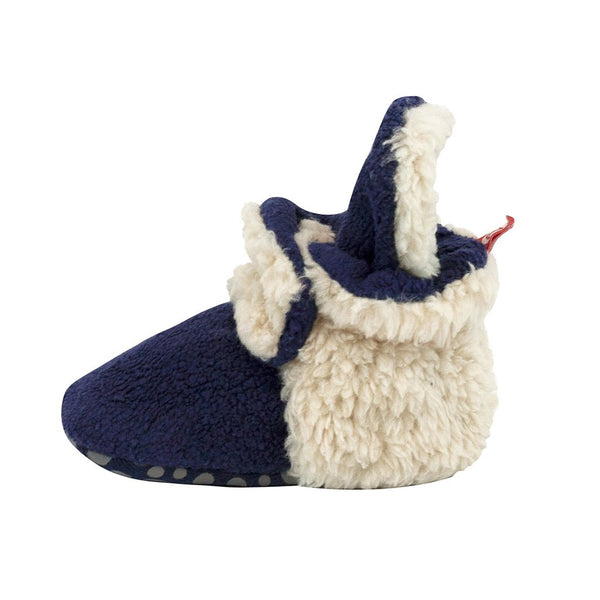 Zutano Cozie Baby Booties Furry True Navy with Grippers