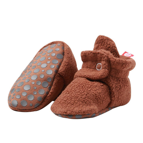 Zutano Cozie Baby Booties Chocolate with Grippers