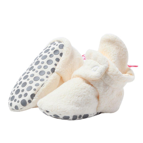 Zutano Cozie Baby Booties Cream with Grippers