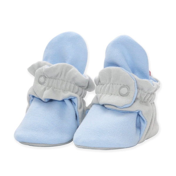 Zutano Organic Cotton Baby Bootie Light Gray/Light Blue