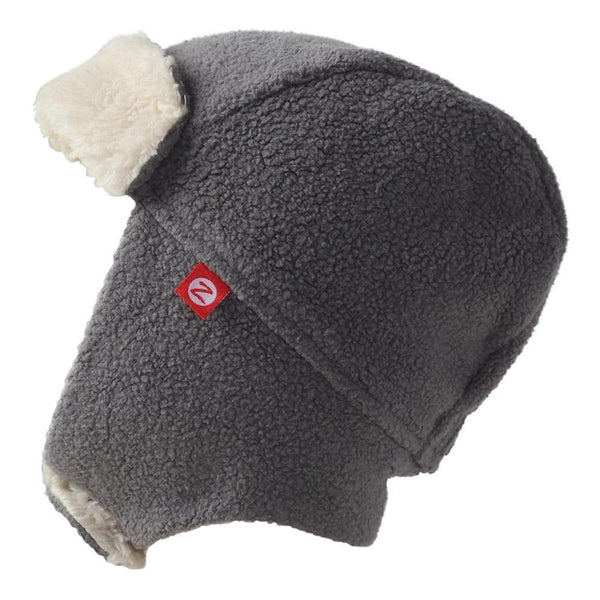 Zutano Baby Cozie Fleece Furry Trapper Hat Gray