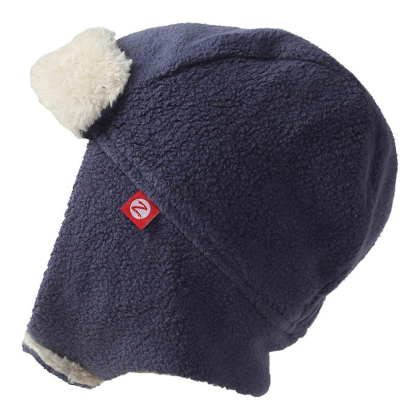 Zutano Baby Cozie Fleece Furry Trapper Hat Navy