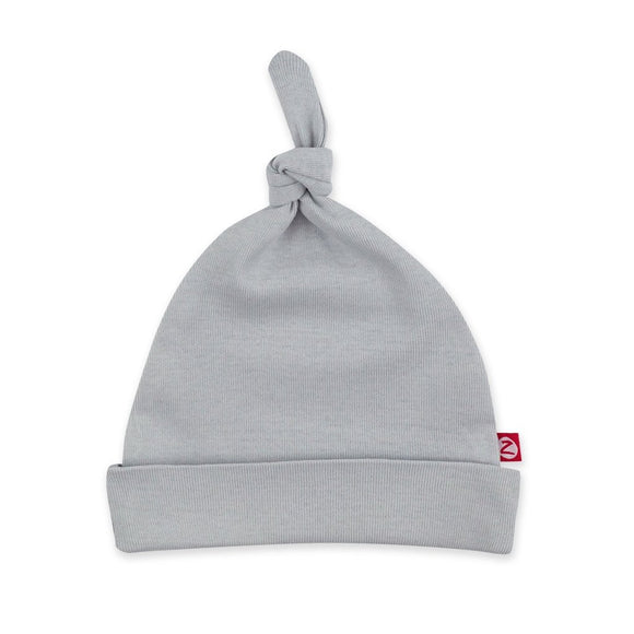 Zutano Baby Solid Rib Knot Hat Light Gray