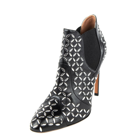 Alaia Black Leather Studded Ankle Boots Size 8.5 | EU 38.5