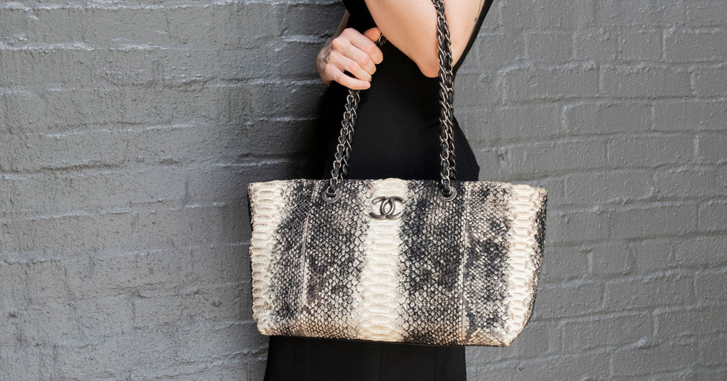 Authentic Chanel Wooled Python Tote