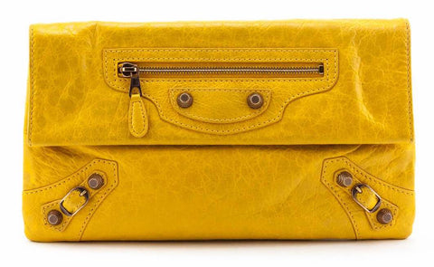 Authentic Marigold Agneau Giant 12 Gold Envelope Clutch for sale