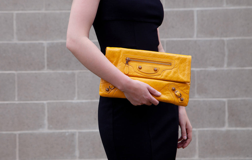 Authentic Balenciaga Marigold Agneau Giant 12 Gold Envelope Clutch for sale