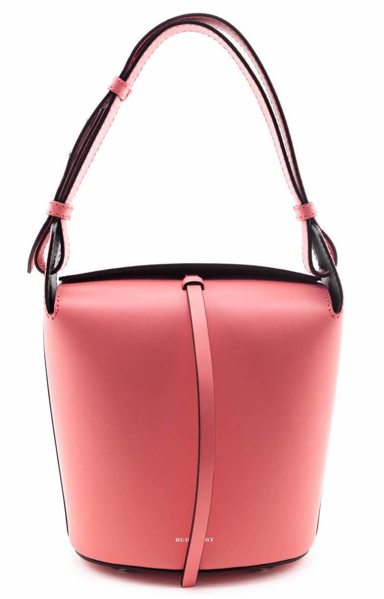 Burberry Bright Coral Pink Supple Calfskin Small Bucket Bag