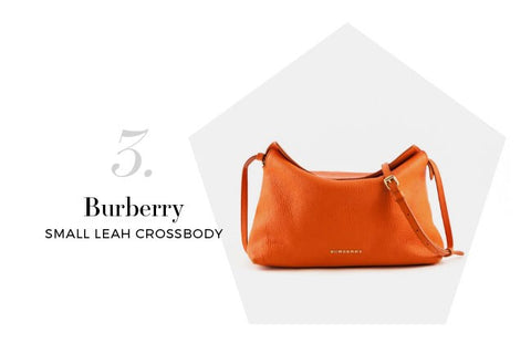 Burberry Orange Grainy Leather Small Leah Crossbody