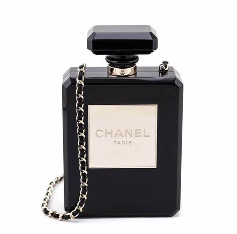 Chanel Black Plexiglass Perfume Bottle Minaudiere