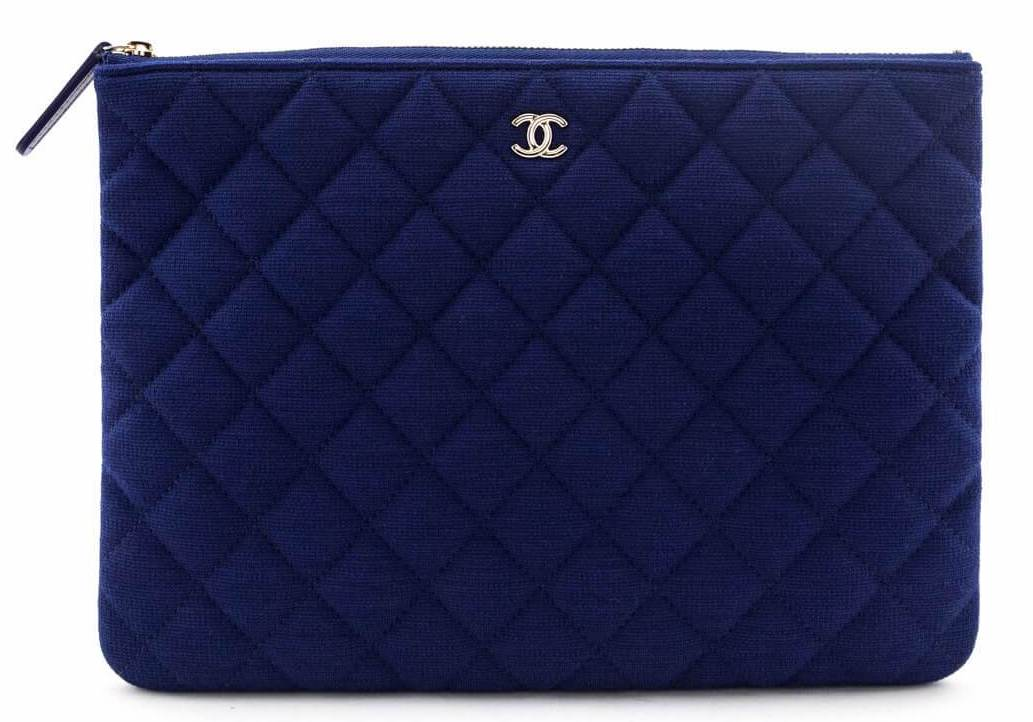 Chanel Navy Quilted Jersey Classic Pouch