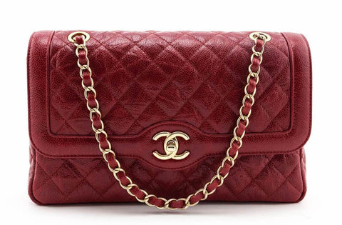 Chanel Red Quilted Crumpled Caviar Single Flap Bag AGHW