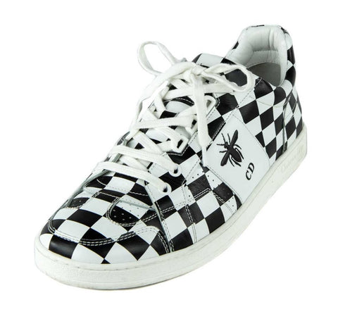 Dior White & Black Leather D-Bee Check Print Low Top Sneakers