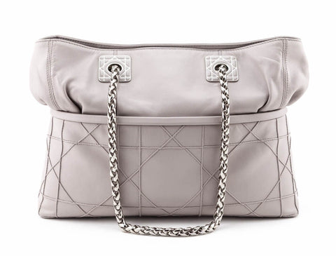 Shop the Dior Gray Lambskin Cannage Quilted Cannage So Dior Tote