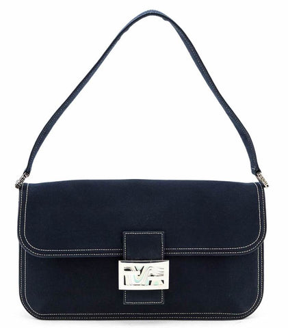 Authentic Fendi Navy Cotton Baguette Bag for sale