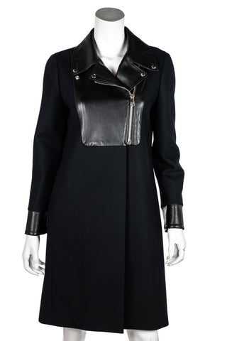 Gucci Black Wool & Leather Moto Coat Size S | IT 42