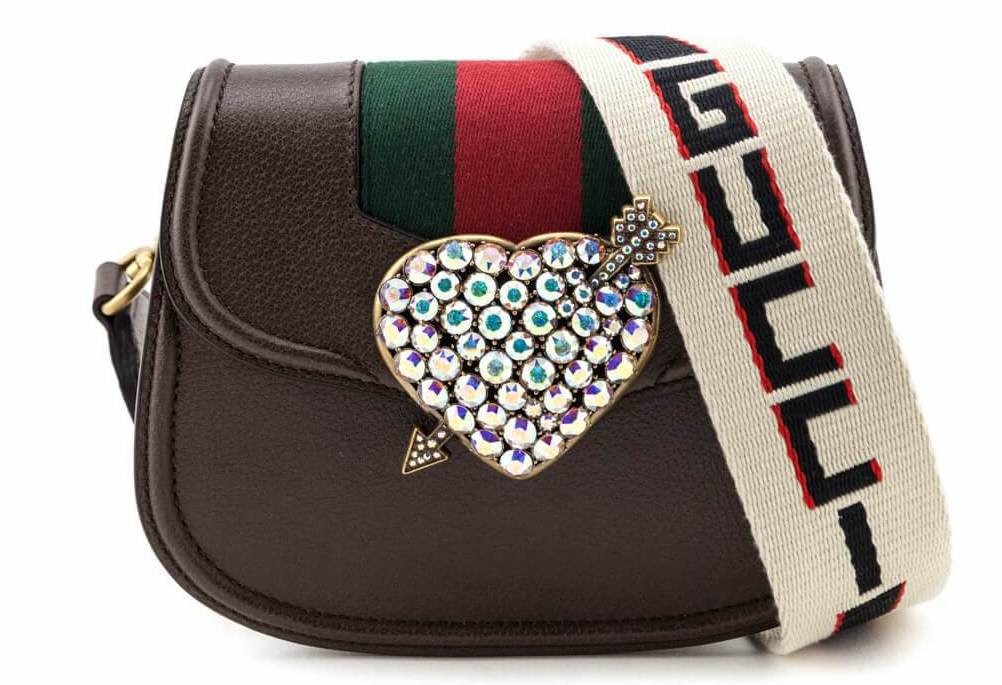 Gucci Brown Leather Small Linea Totem Crystal Heart Shoulder Bag