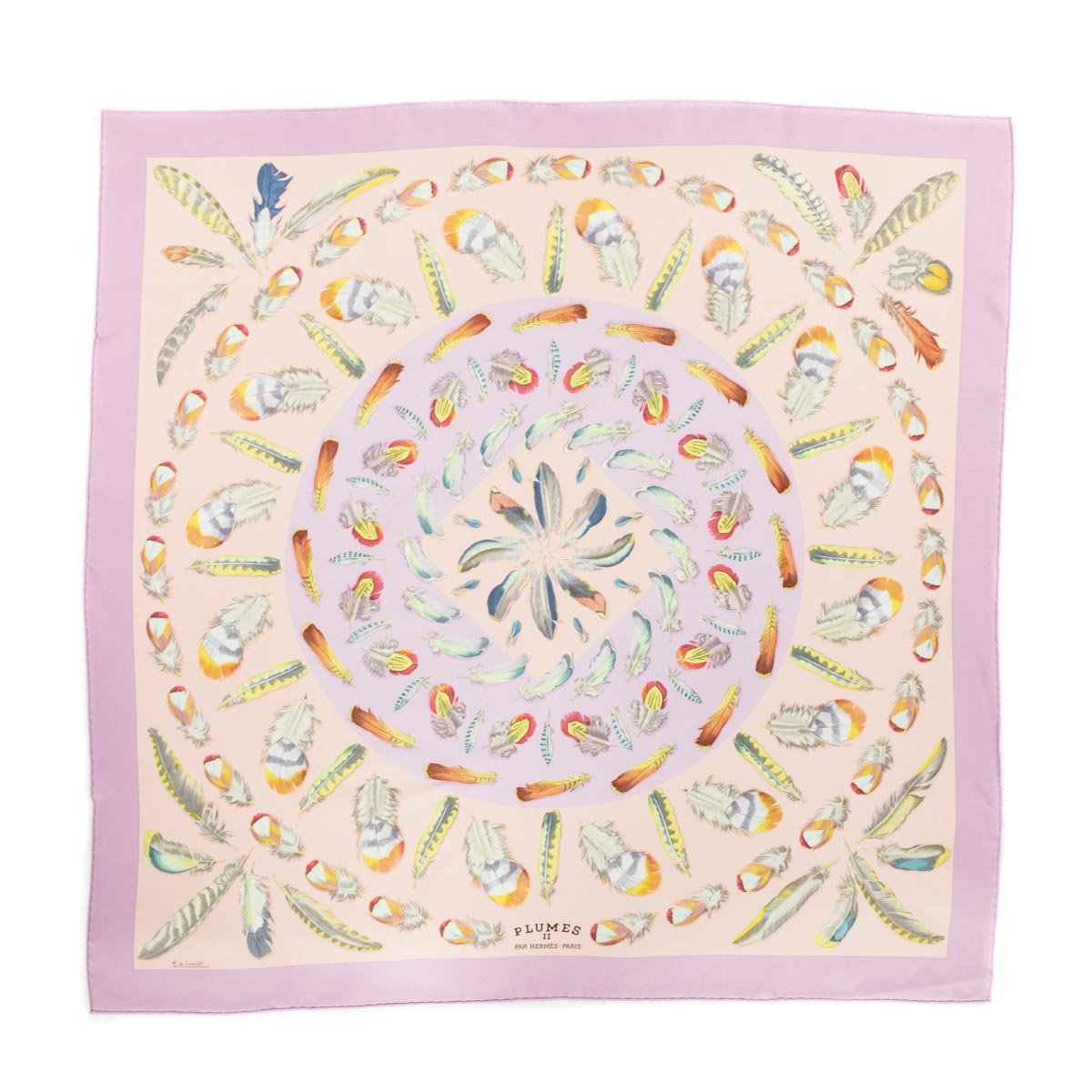 Hermes Pink & Lilac Silk Plumes Scarf 90