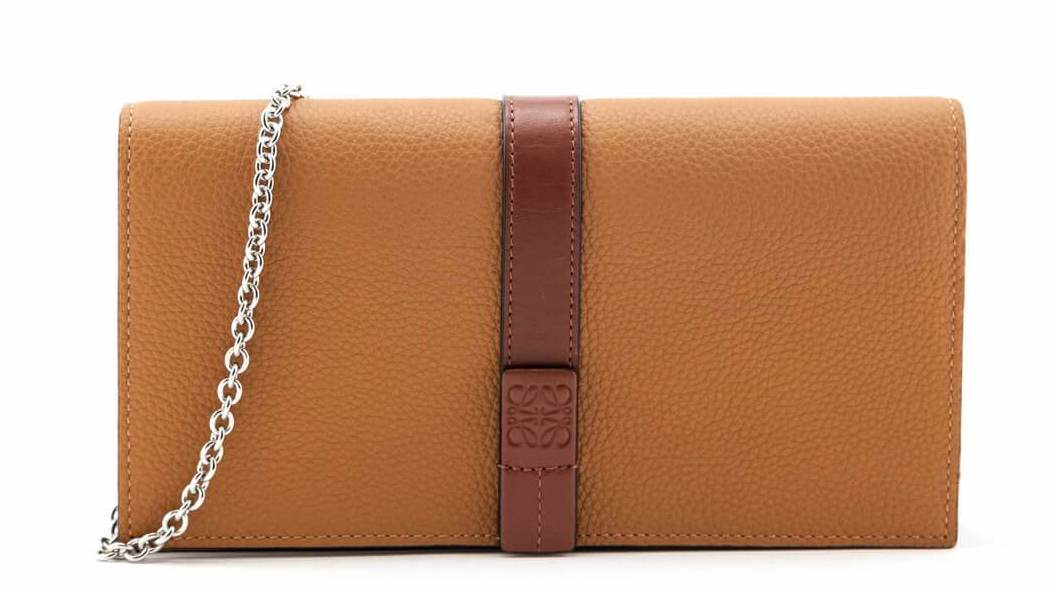 Loewe Light Caramel & Pecan Grained Calfskin Wallet on Chain