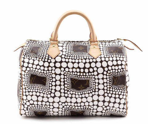 Louis Vuitton Monogram White Kusama Town Speedy 30