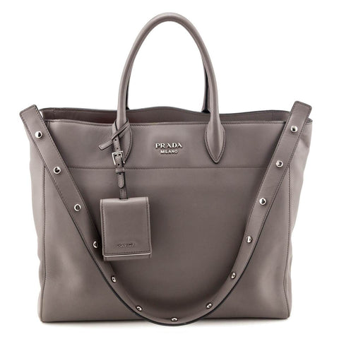 Prada Gray City Calf Studded Strap Tote