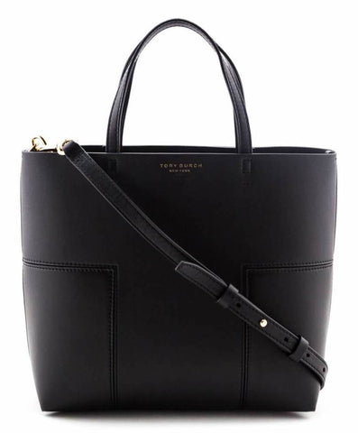 Authentic Tory Burch Black Leather Block T Mini Satchel for sale