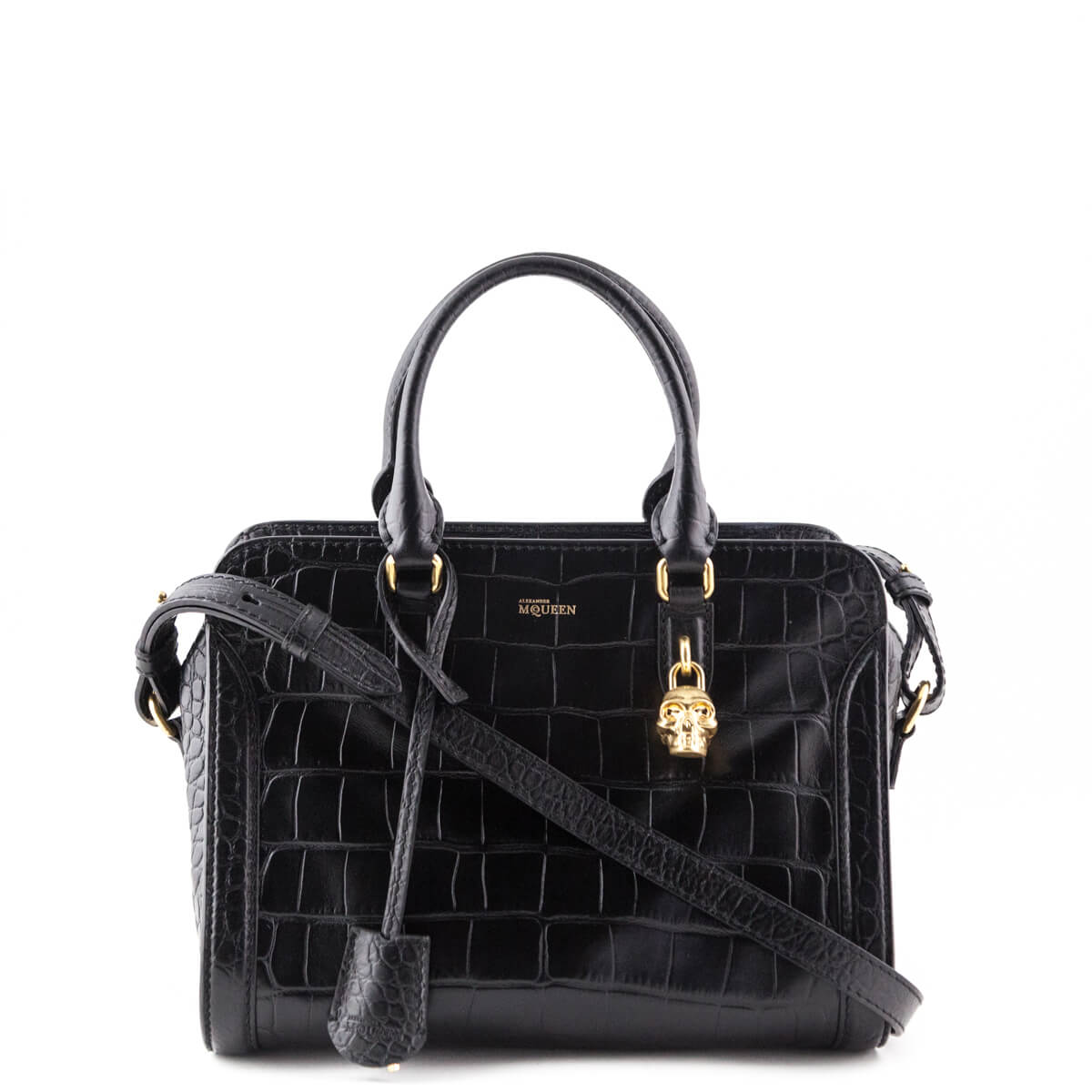 0f899edaf62a Alexander McQueen Black Croc-Embossed Medium Skull Padlock Bag - LOVE that  BAG - Preowned ...
