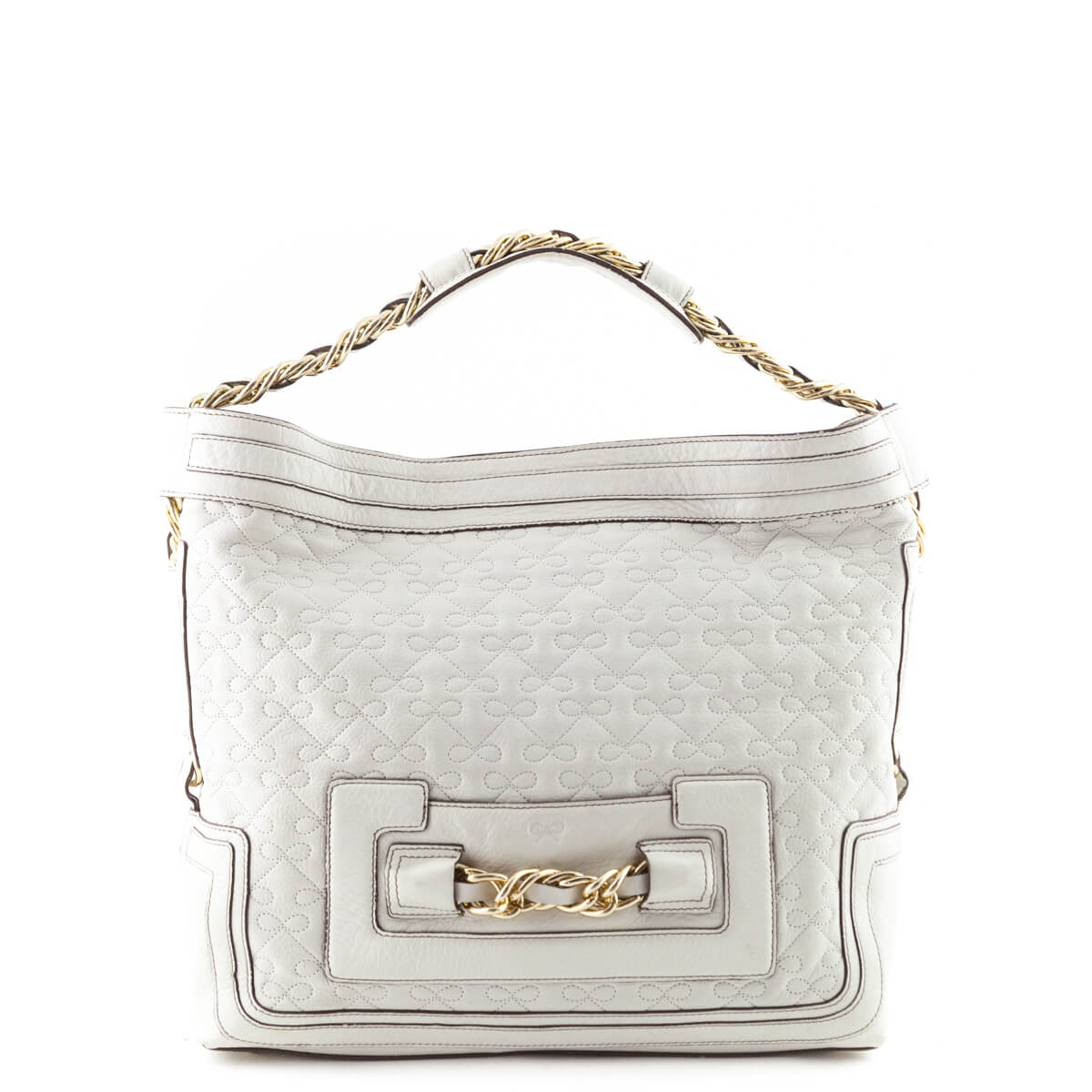 f9c00eee95d Anya Hindmarch Cream Quilted Leather Shoulder Bag
