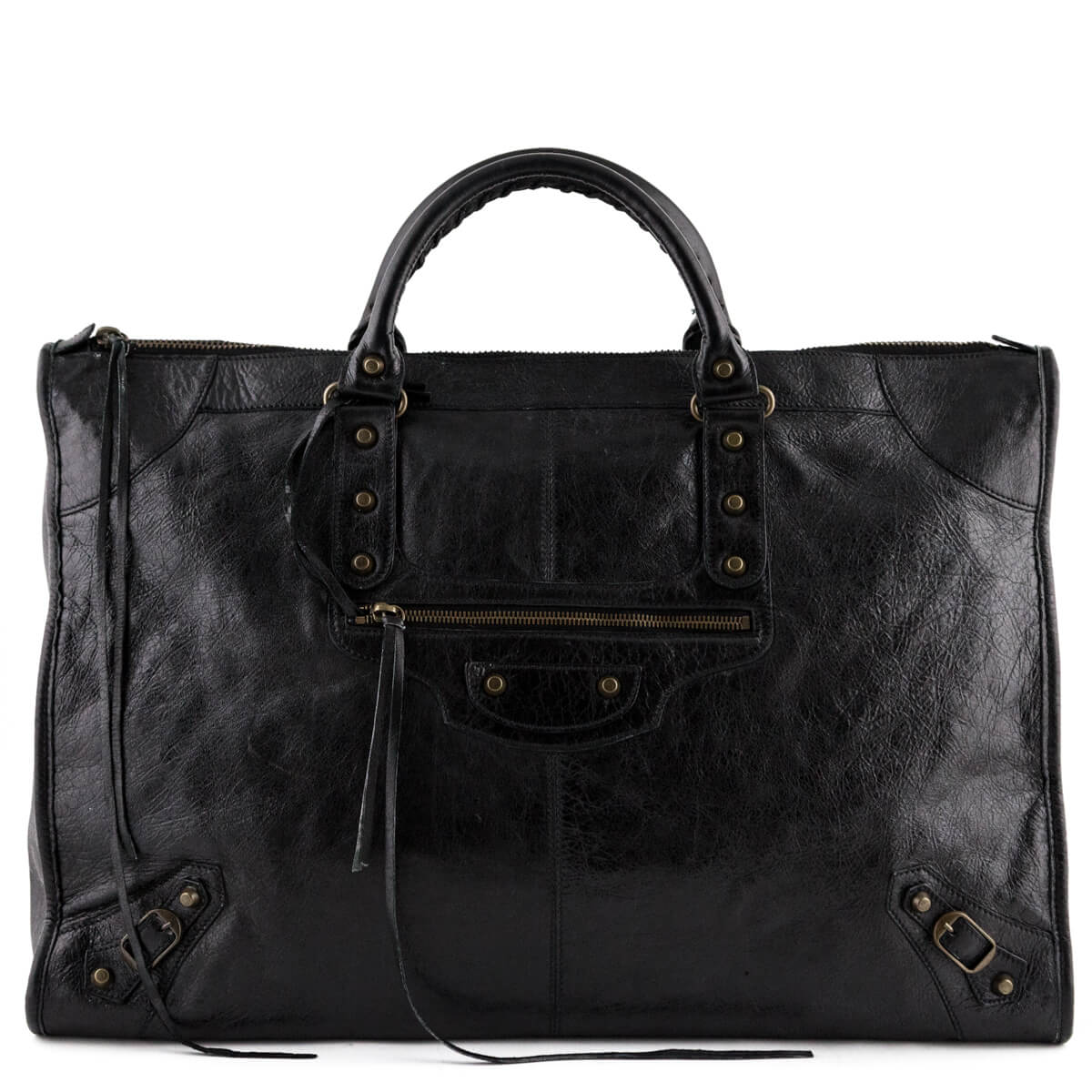 5d4fc1e8c5e6d1 Balenciaga Black Lambskin Motocross Classic City Weekender - LOVE that BAG  - Preowned Authentic Designer Handbags ...