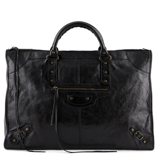 057bef1d4f Balenciaga Black Lambskin Motocross Classic City Weekender - LOVE that BAG  - Preowned Authentic Designer Handbags