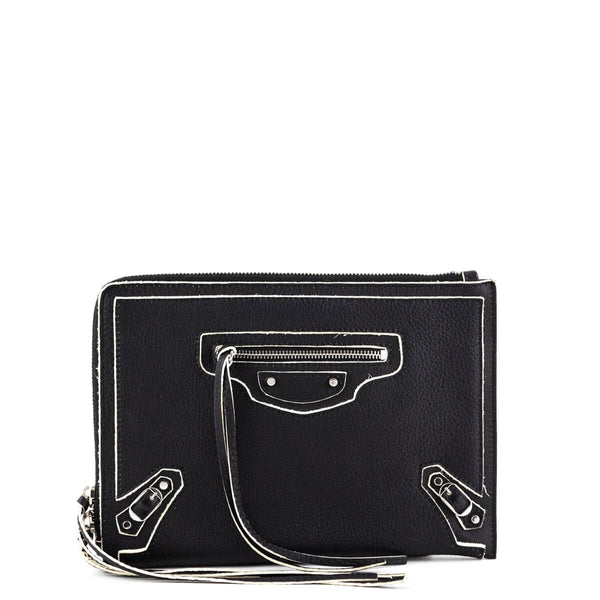 cefd97a495a066 Balenciaga Gris Fossile Lambskin SS 2016 Motocross Highlight Classic Pouch  - LOVE that BAG - Preowned