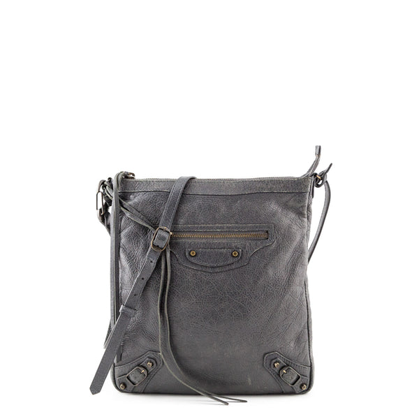 f1301615cee Balenciaga Gris Tarmac Lambskin Classic Flat Crossbody Bag - LOVE that BAG  - Preowned Authentic Designer
