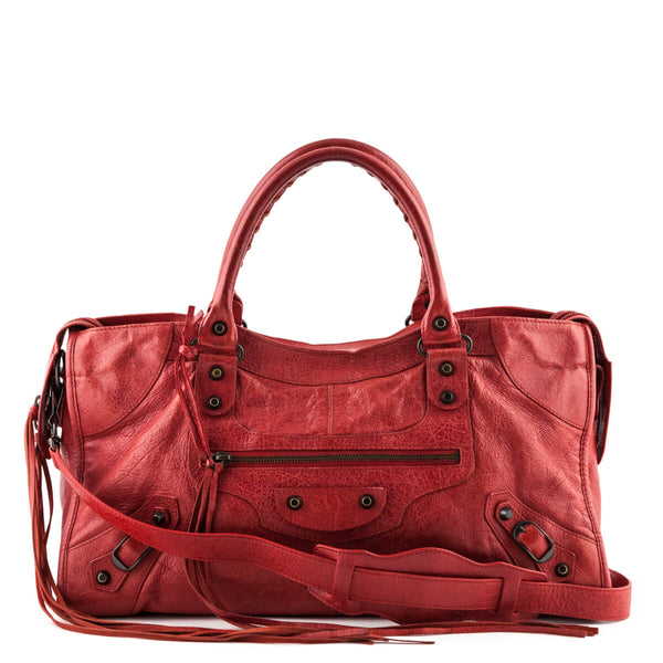 85186ad6b5 Balenciaga Rouge Cardinal Agneau Motocross Classic City Bag - LOVE that BAG  - Preowned Authentic Designer