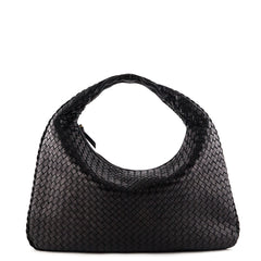 Bottega Veneta Black Large Intrecciato Veneta Hobo