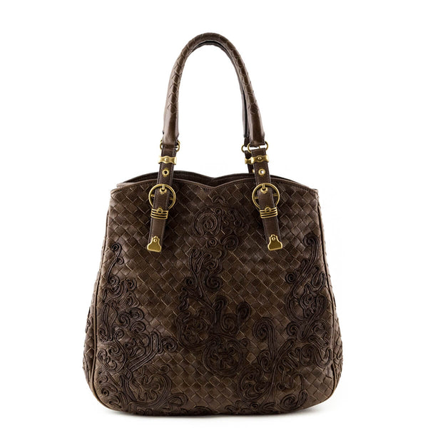 123bf4aabe Bottega Veneta Brown Intrecciato Nappa Limited Edition Embroidered Tote -  LOVE that BAG - Preowned Authentic