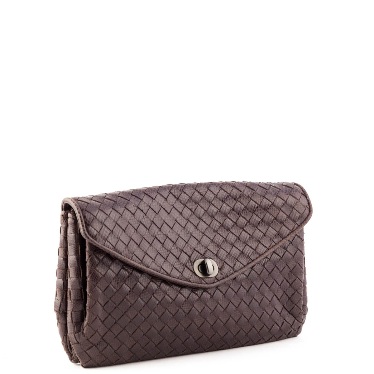 d0b8607027 ... Bottega Veneta Brown Karung Intrecciato Clutch - LOVE that BAG -  Preowned Authentic Designer Handbags ...