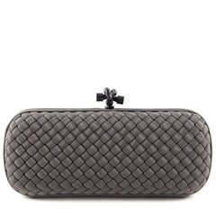 Bottega Veneta Shadow Grey Intrecciato Silk Stretch Knot Clutch - 1