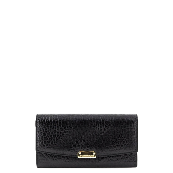 4693f5558e Burberry Black Embossed Check Calfskin Porter Continental Wallet - LOVE  that BAG - Preowned Authentic Designer