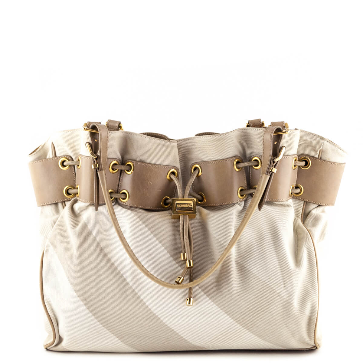 34128baa81b Burberry Off White Nova Check Drawstring Shopper - LOVE that BAG - Preowned  Authentic Designer Handbags ...