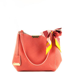 Burberry Coral Red Calfgrain Check Embossed Leather Small Canter