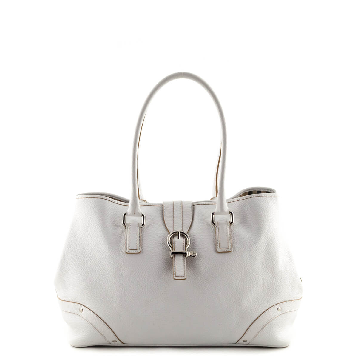 613000a144bf Burberry White Pebbled Leather Medium Buckle Detail Shoulder Bag - LOVE  that BAG - Preowned Authentic ...