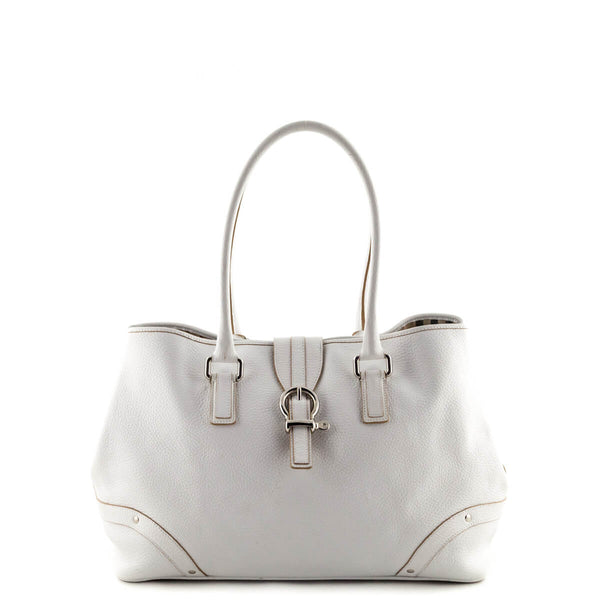 5173e33c2ff0 Burberry White Pebbled Leather Medium Buckle Detail Shoulder Bag - LOVE  that BAG - Preowned Authentic